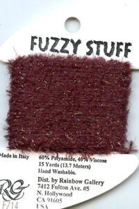 Rainbow Gallery Fuzzy Stuff #FZ14 Burgundy Furry Sparkly Thread 15 yd card