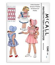 Child 2t Sewing Pattern McCall s 1245 Bonnet Smocked Sunsuit Pinafore Bloomers 2