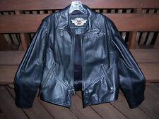 SHARP!! Genuine Harley Davidson Ladies XL Leather Jacket HEAVY MONOGRAMMED