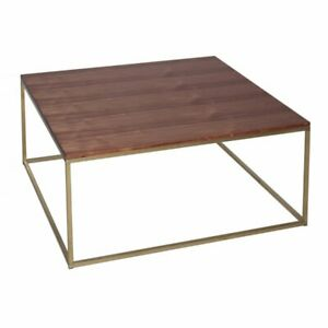 Gillmore Walnut and Gold Metal Contemporary Square Coffee Table