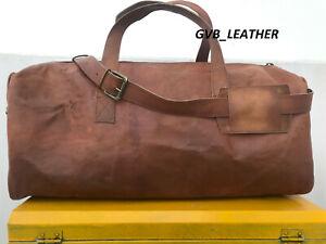 Men's Genuine Leather Luggage Gym Backpack Overnight Duffel Weekend Vintage Bag