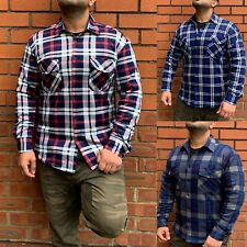 Mens Padded Check Lumberjack Flannel Casual Jacket Warm Thick Shirt Top M-3XL