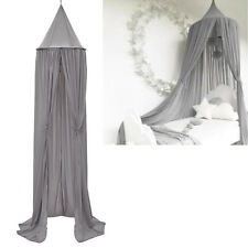 Gray Chiffon Kid's Bed Canopy Round Princess Beds Curtains Drape