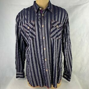 Arnold Zimberg Hollywood Button Front Long Sleeve Shirt Size XL Blue Striped