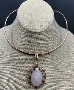 Barse Rosalina Oval Enhancer Necklace- Rose Quartz & Mixed Metal- NWT