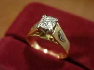 18k 18ct Solid Gold Diamond Solitaire Ring. 0.15ct Size M-N 4.49g