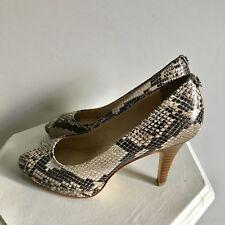 Calvin Klein Shoes 6 Kail Classic Snake Print Natural Heels Pumps Peeptoe
