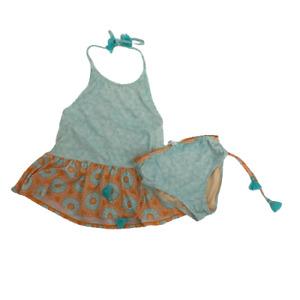 Cabana Life Kids Girls Swimwear Set Two Piece Top Short Tankini Floral Blue 14
