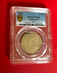 1895 2 1/2 SHILLINGS PCGS VF 35 SOURTH AFRICA KM-7