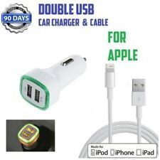 Double USB Universal Green LED CAR CHARGER & USB Cable For iPhone 5s,6s,7,8,X,XS