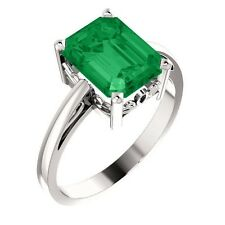 Emerald Cut Chatham® Created Emerald Gemstone Solitaire Ring in 14K. White Gold