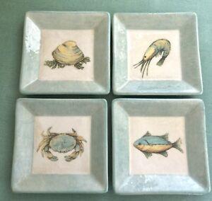4 Williams Sonoma Verano Tile Italy Appetizer Plates Crab Shell Shrimp Fish
