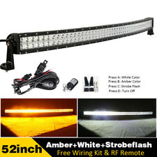 """52"""" Amber/White/Strobe Led Curved Light Bar Driving & Free Wiring Harness Kits"""