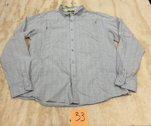 Arcteryx Men's Large Button Up Shirt Gray Outdoor Hiking Arc'teryx Zip Pocket