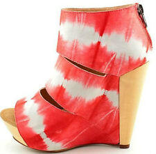 MESSECA Coraline Wedge Coral Tie Dye Ombre Leather Platform Cut-Out Zip Bootie 8