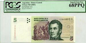 ARGENTINA 5 PESOS 2003  BANCO CENTRAL PICK 353 LUCKY MONEY VALUE $300