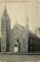 Waukegan Illinois~First Baptist Church~1912 B&W Postcard