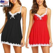 Womens Sexy Lace Satin Lingerie Sleepwear Night Gown Babydoll Dress Nightie Robe