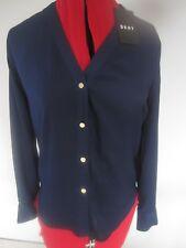 BNWT DKNY WOMENS Silk FEEL Blouse TOP Navy BLUE XXS UK 6, 8 USA 2, £120 V NECK