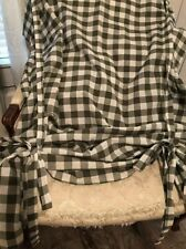2 Pretty Green & White Check 42x63 Tie Up Curtain Panels Farmhouse Cottage NWOT