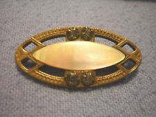 Brooch or Scarf Pin Sash Pin Antique Victorian Edwardian Mother Of Pearl +Brass