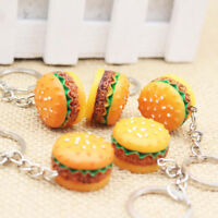 1Pc Novelty Food Resin Hamburger Keys Ring - 3D Burger Keychain Pendant Gifts
