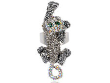 Fashion Women Silver Crystal Rhinestones Kitty Cat Clawing Adjustable Ring Party