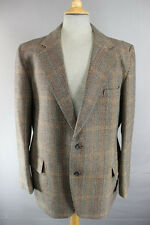 VINTAGE 1970's FOSTER Menswear thornproof Twist controllato Brown Tweed Giacca 42 In