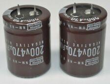 Lot of 2 Nippon Chemi-Con 200v 470 uF (M) Capacitors NM-HR 85C