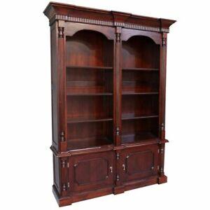 Solid Mahogany Wood Large 8 Shelves and Cupboards Bookshelf