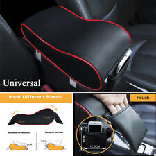 Universal Leather Black+Red Car Armrest Pad Covers Center Console Cushion Box
