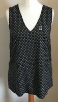New Look Size 12 Ladies Sleeveless Black Ditsy Print Crochet Back Vest Top, BNWT