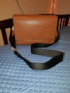 Calvin Klein Leather Messenger Bag Caramel/Brown Color MWT MRSP $ 299.50