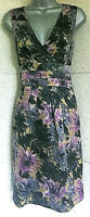 LK BENNETT dark floral Silk/Wool A line dress V neck sleeveless pockets lined12