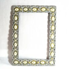 Vintage Mid Century silver colored metal picture frame 7.25X5 In hlds 4X6 in pic