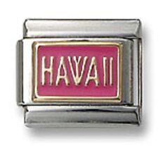18K Gold Italian Charm Enamel Pink HAWAII Fit 9mm Stainless Steel Link Bracelet