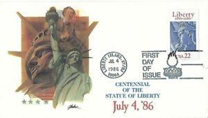 2 '86 FDCs Statue of Liberty SC#2224 Artmaster Fleetwood