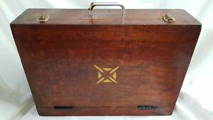 Antique Vintage Wooden Briefcase Storage Craft Tool Box Artists Case approx 49 x