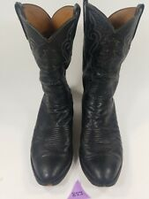Lucchese Mens Western Boots size 13.5E Smooth Ostrich Black Model# G9056 2013