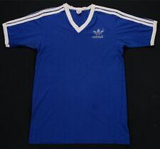 Rare Vintage ADIDAS Spell Out Trefoil V-Neck Ringer T Shirt 70s 80s Blue Size XL