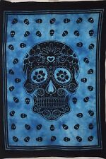 Scull Modern Art Smal Tapestry Wall Hanging Home Decor Poster Blue Cotton Hippie