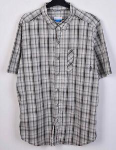 COLUMBIA Omni Wick Men L Shirt Grey Checked Cotton Blend Short Sleeve Button Tee