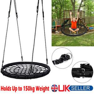 60cm Kids Outdoor Garden Tree Swings Set Round Nest Web Swing Seat Hanging Rope