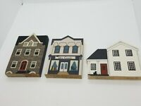 Vintage The Cats Meow Faline Lot Of 3 Buildings Hand Painted Pieces Rare!