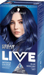 Schwarzkopf Live Hair Dye Colour BLUE MERCURY U67 Permanent METALLIC SHINE BOOST