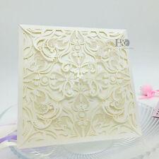 12 PCS Wholesale Ivory Laser Cut Wedding Invitation Cards Party Evening Favor