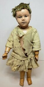 """Antique 14.5"""" SCHOENHUT Jointed Wood Body Girl Doll Patent 1/17/1911"""
