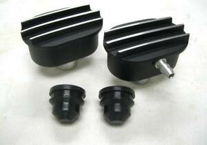 Black Aluminum Finned Oval Air PCV Breather Combo Valve Cover Nostalgia Set of 2