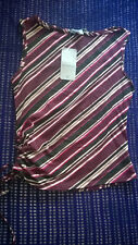 Brand New With Tags size 10 purple & Black striped top work formal