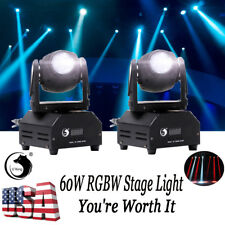 DMX 60W 2PCS Moving Head Stage Lighting RGBW Beam LED Light Wedding Disco Party